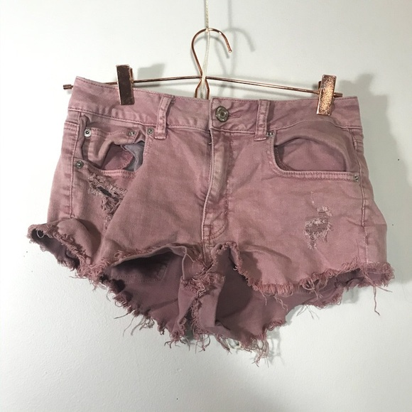 American Eagle Outfitters Pants - AEO • Pink Distressed Shorts | 6